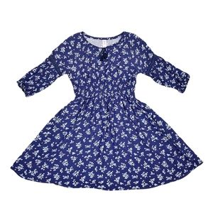 Justice Girl's Navy Blue Floral Long Sleeve Dress